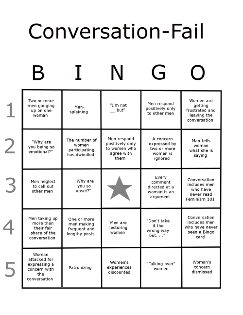 Conversation-Fail Bingo, a.k.a Mainsplaining Bingo, a.k.a. Bingo Card for Troubles with Online Communication Between Men and Woman