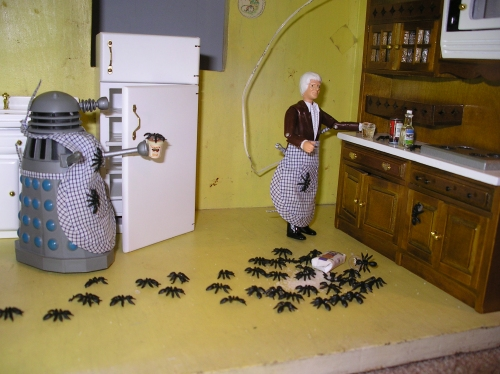 Picture of an ant invasion featuring a Dalek and the Jon Pertwee Doctor.