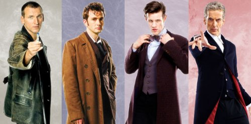 From left to right: Christopher Eccleston, David Tennant, Matt Smith, Peter Capaldi. From http://www.doctorwhotv.co.uk/
